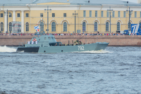 Russia, Saint-Petersburg, July 30, 2017 - in the Neva river landing boat 792.