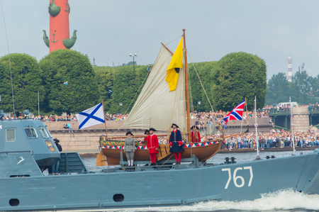 Russia, Saint-Petersburg, July 30, 2017 - the boat of Tsar Peter the first on parade of the Navy. Editorial