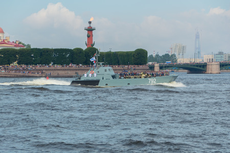 Russia, Saint-Petersburg, July 30, 2017 - day parade of the Navy landing craft 792.