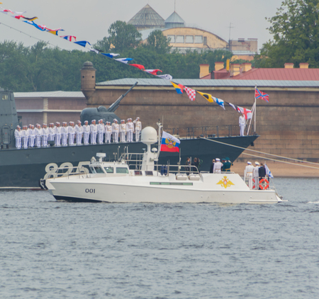 Russia, Saint-Petersburg, July 30, 2017 - Russian President Vladimir Putin and admirals take the parade of warships on Navy day.