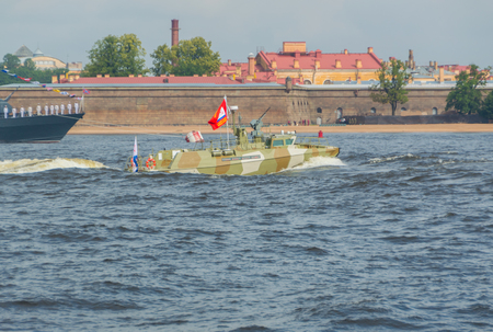 Russia, Saint-Petersburg, July 30, 2017 - day parade of the Navy patrol boat.