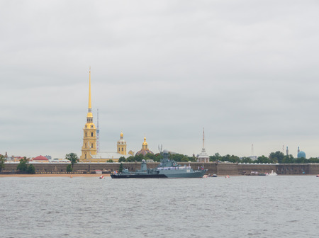 Russia, Saint-Petersburg, July 30, 2017 - on the river Neva Small anti-submarine ship of the Baltic fleet, 304.