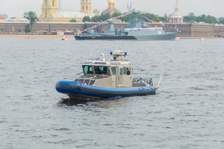 Russia, Saint-Petersburg, July 30, 2017 - police boat from warships on Navy day.