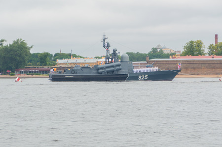 Russia, Saint-Petersburg, July 30, 2017 - large missile boat Dimitrovgrad near the Peter and Paul fortress. Editorial