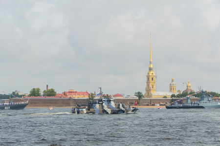 Russia, Saint-Petersburg, July 30, 2017 - day parade of the Navy anti-sabotage boat Nahimovets.