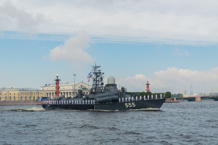 Russia, Saint-Petersburg, July 30, 2017 - day parade Navy small missile ship Geyser.