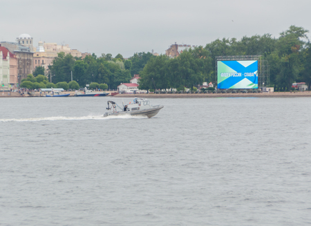 Russia, Saint-Petersburg, July 30, 2017 - boat television with a camera on the day of the Navy.