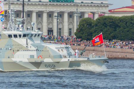 Russia, Saint-Petersburg, July 30, 2017 - on  nose of the ship a sailor with a gun. Editorial