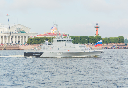 Russia, Saint-Petersburg, July 30, 2017 - anti-sabotage the boat in the Neva river on Navy day.