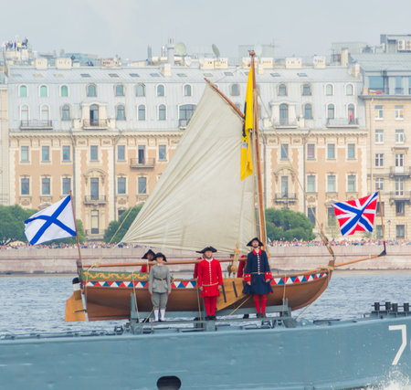 Russia, Saint-Petersburg, July 30, 2017 - the boat of Tsar Peter the first in Russian Navy day.