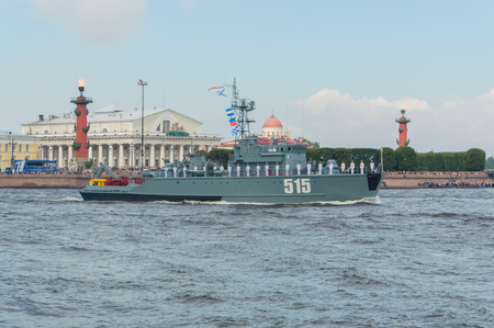 Russia, Saint-Petersburg, July 30, 2017 in the waters of the Neva basic minesweeper ship 515. Editorial