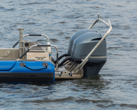 outboard: feed boats with outboard motors. Stock Photo