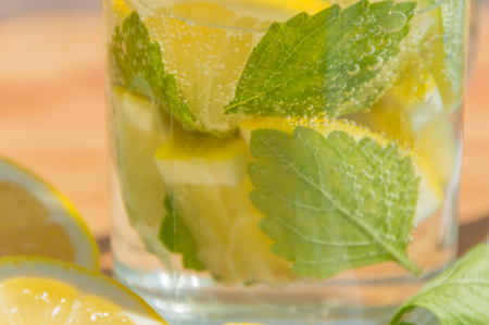 refreshing drink water with lemon and mint.