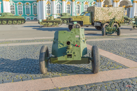 Russia, Saint-Petersburg, August 10, 2017 - exhibition of military equipment, which defended Leningrad during the blockade. Фото со стока - 84538516