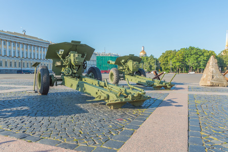Russia, Saint-Petersburg, August 10, 2017 - exhibition of military equipment, which defended Leningrad during the blockade. Editorial