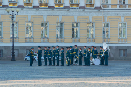 Russia, Saint-Petersburg, August 10, 2017 - a military brass band at the main headquarters. Redakční