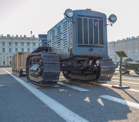 Russia, Saint-Petersburg, August 10, 2017 - tractor which was involved in the defense of Leningrad. Editöryel