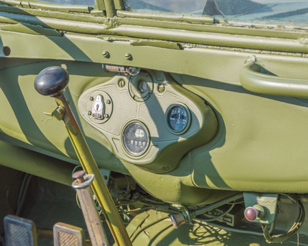 instrumentation and control, military retro car.