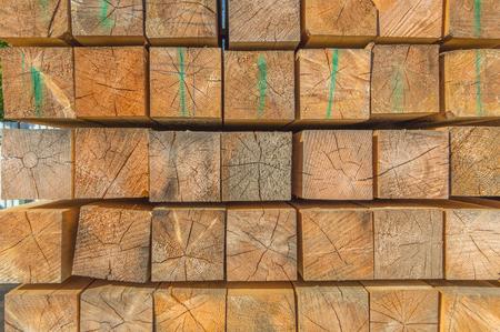 warehousing timber outdoors, front view. Stock fotó