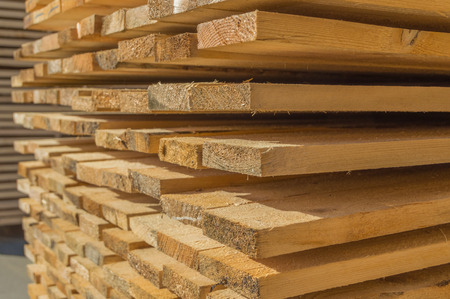 Warehouse in wood construction material. Sawmill. Banco de Imagens