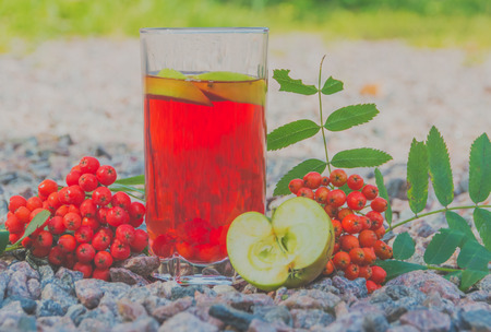vitamin drink, berry Rowan with Apple.