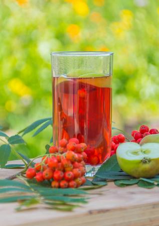 ビタミンを飲む、Apple とナナカマドの果実します。 写真素材