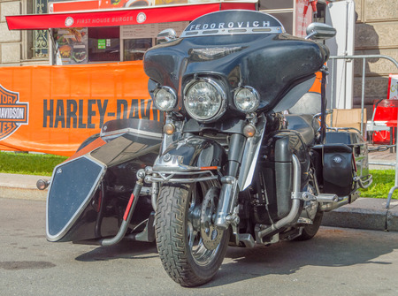 Russia, Saint-Petersburg, Ostrovsky Square, the festival of Harley Davidson, August 3, 2017 - a motorcycle with a sidecar parked on the side of the road.