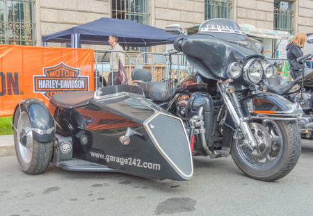 Russia, Saint-Petersburg, Ostrovsky Square, the festival of Harley Davidson, August 3, 2017 - a motorcycle with a sidecar.