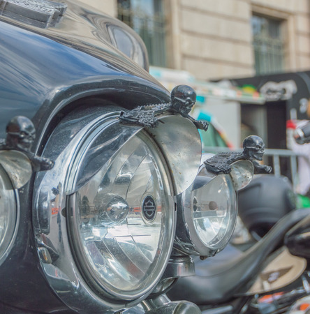 Russia, Saint-Petersburg, Ostrovsky Square, the festival of Harley Davidson, August 3, 2017 - reflector lights with skulls. Editöryel