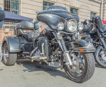 Russia, Saint-Petersburg, Ostrovsky Square, the festival of Harley Davidson, August 3, 2017-a large three-wheeled motorcycle.