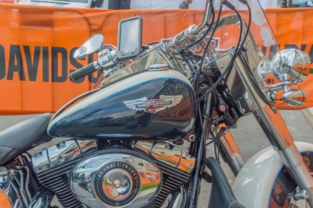 Russia, Saint-Petersburg, Ostrovsky square, August 3, 2017 - the festival of Harley Davidson, the front part of the motorcycle. Editorial