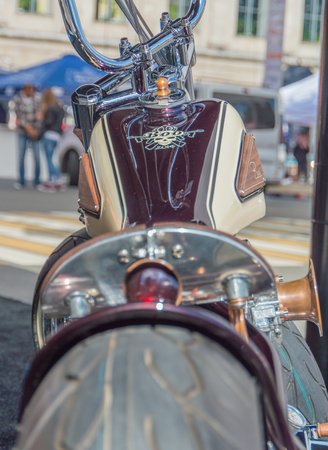 Russia, Saint-Petersburg, Ostrovsky square, August 3, 2017 - festival Harley Davidson, wheel and brake motorcycle headlight, closeup.