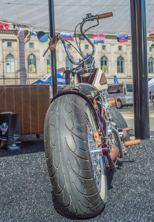Russia, Saint-Petersburg, Ostrovsky square, August 3, 2017 - festival Harley Davidson, rear view of exclusive motorcycle.