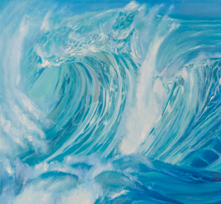painting with oil paints, the crest of a wave in the sea.