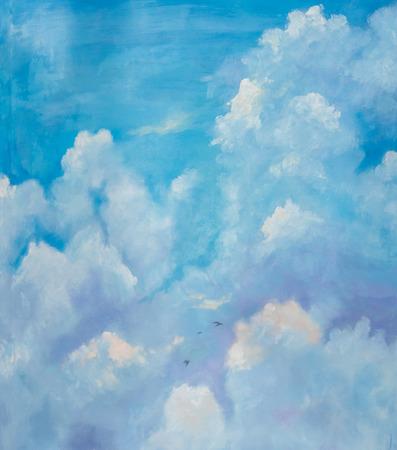 lucht met vogels, olieverfschilderij.