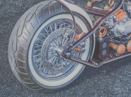 back of vintage motorcycle, closeup