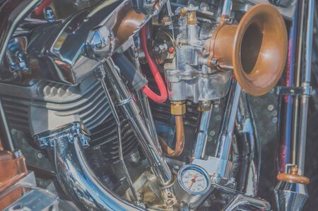 the engine and cooling system retro motorcycle, closeup