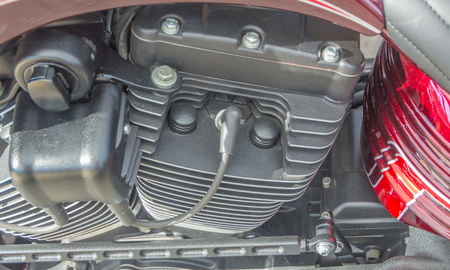 closeup of a motorcycle engine of a motorcycle