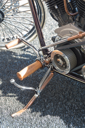 a vintage motorcycle is on the kickstand