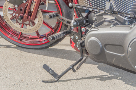 modern motorcycle with a kickstand for Parking