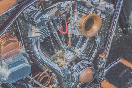 close-up, koelsysteem en retro motorfiets Stockfoto