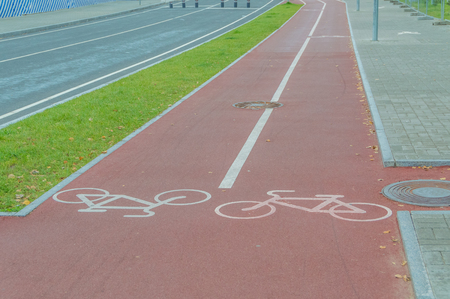 a separate bike path in the city Stock Photo