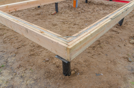 the angle of the boards, the timber framing of a house under construction Stock Photo