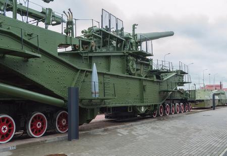 Russia, Saint-Petersburg,15, Nov, 2017 - artillery gun, train, outdoor, railway Museum