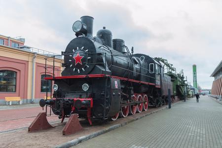 Russia, Saint-Petersburg, 15, Nov, 2017 - Museum of railway transport, outdoors, steam train with a gun