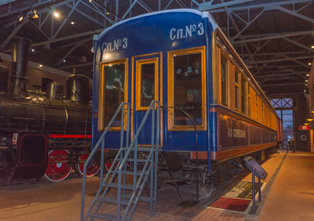 Russia, Saint-Petersburg, 15, Nov, 2017 - indoor railway Museum, antique train for official use only