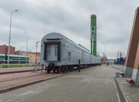 Russia, Saint-Petersburg, 15, Nov, 2017 - Museum of railway transport, outdoors, Combat railway missile train Editorial