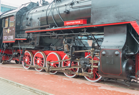 Russia, Saint-Petersburg, 15, Nov, 2017 - Museum of railway transport, outdoors, the steam Locomotive at the entrance