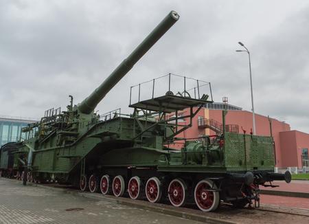 Russia, Saint-Petersburg, 15, Nov, 2017 - Museum of railway transport, outdoor, gun artillery train