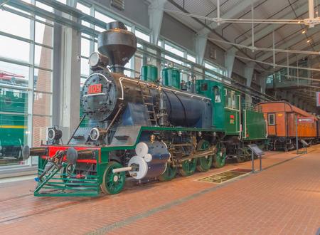 Rusland, Sint-Petersburg, 15, nov 2017 - treinen en locomotieven, indoor spoorwegmuseum Redactioneel